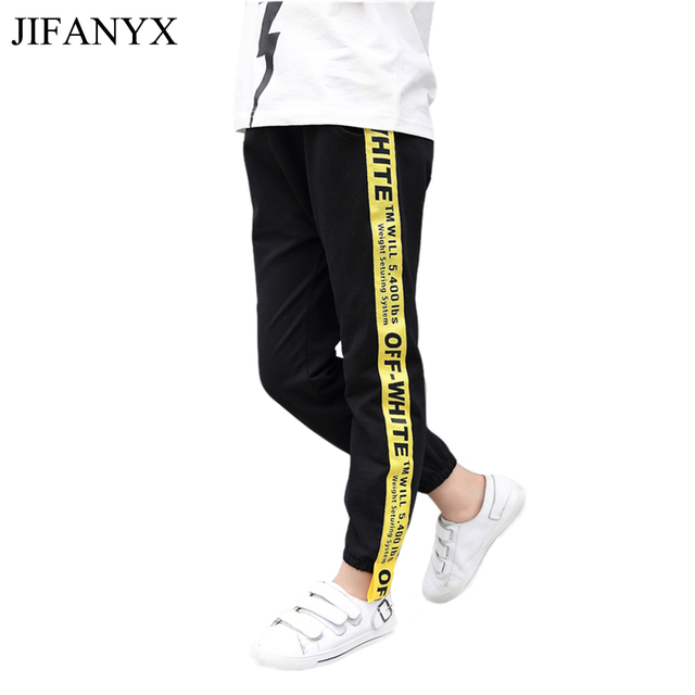 81c13a842 JIFANYX Kids Pants Side Striped Cotton Trousers Boys Girls Children Sport  Pants Casual Kids Clothes Black Grey Side Letter Print