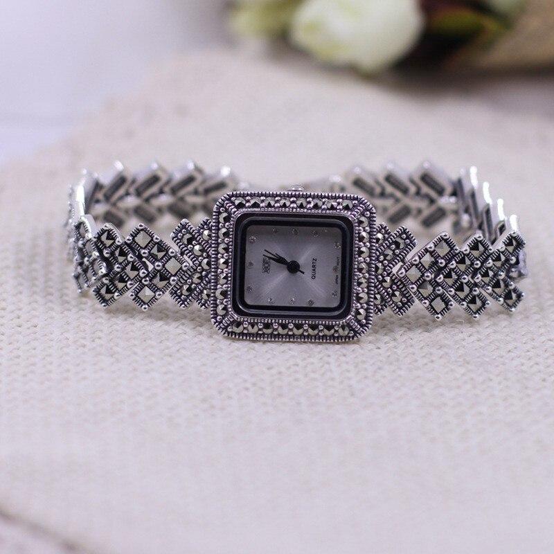 quartzo s925 pulseira de prata relógio quadrado