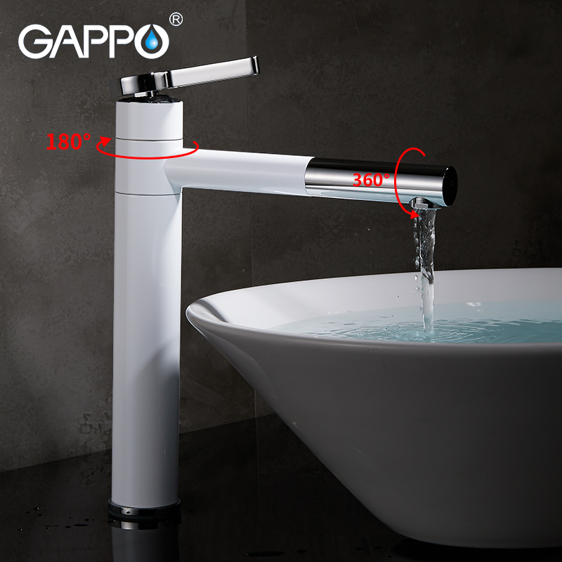 Gappo Basin Faucets white tall bathroom water sink faucet taps bath water taps mixers waterfall mixer