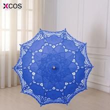 Multicolor 30'' Vintage Style Handmade Embroidered Cotton Lace Parasol Sun Umbrella Wedding Bridal Party Decoration