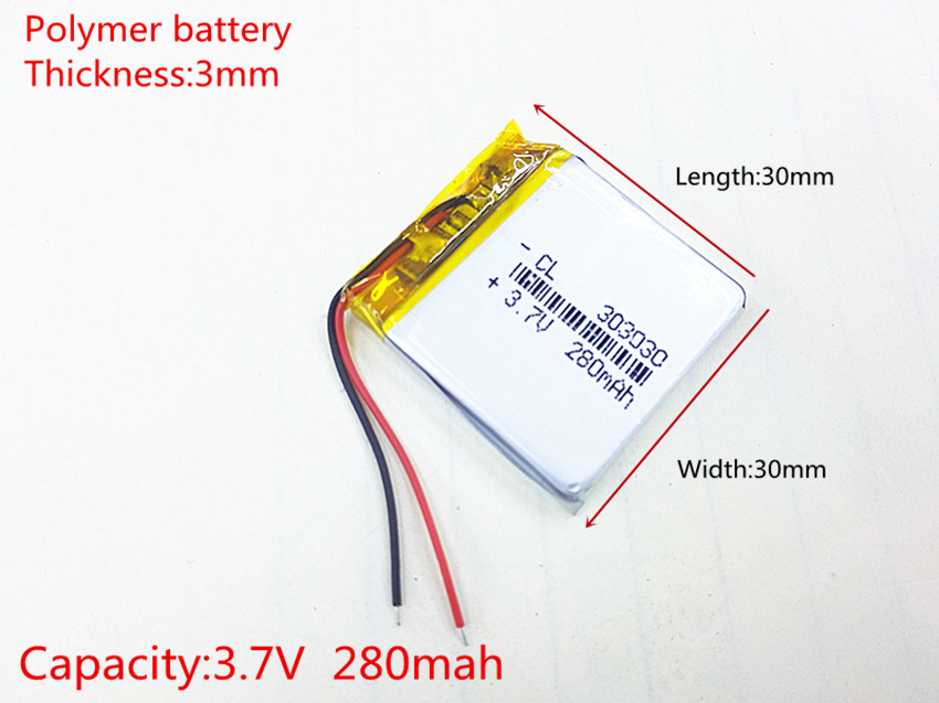 3.7V 280mAh [303030] Polymer lithium ion / Li-ion battery for Voice recorder pen,mp3;mp4,BLUETOOTH,Smart watch kxd042040pl 280mah lithium polymer battery
