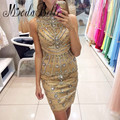 Rhinestone Gold Champagne Cocktail Dresses 2017 Prom Party Short Gown Luxury Crystal Mini Beach Robe Cocktail Courte Chic