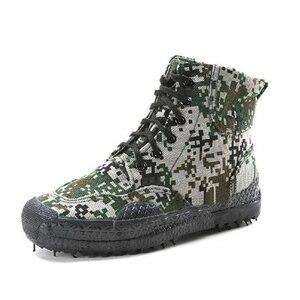 Image 4 - 2019 moda męska Casual buty kamuflażowe męskie zabezpieczenie w pracy wyzwolenie gumowe buty dżungla płótno wysokie buty treningowe