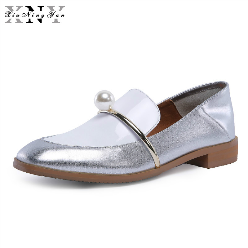 XiuNingYan Genuine Cow Leather Casual Designer Vintage Lady Flat Shoes Handmade Oxford Shoes for Women Black Silver Big Size 43 genuine leather woman size 9 designer yinzo vintage flat shoes round toe handmade black grey oxford shoes for women 2017