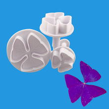 3 pcs/set Four Leaf Clover Flower Shape Plastic Cookie Cutters Pastry Cake Biscuit Mold Pressing Plunger Baking Tools