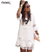 Plus Size Dress Women Sexy Hollow Out Lace Dress Casual Loose Beach Dresses Office Dress Elegant