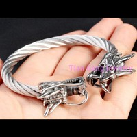 Wholesale New Fashion Fine Jewelry Men Bracelets Top Quality Stainless Steel Dragon Vintage Bracelet Male Gifts