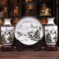 New Arrival Antique Jingdezhen Ceramic Vase Plate Set Classical Chinese Traditional Decoration Vase Flower Porcelain Vase