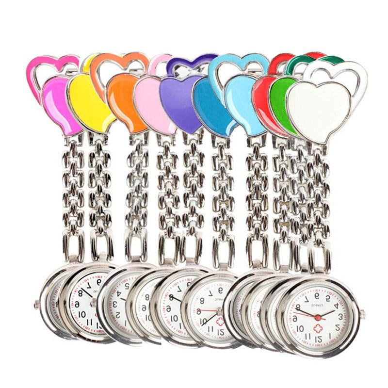 New Chest Pocket Watch Doctor Nurse Watch Warm Sweet Heart Quartz Fob Brooch Pocket Watch With Clip Gift LL