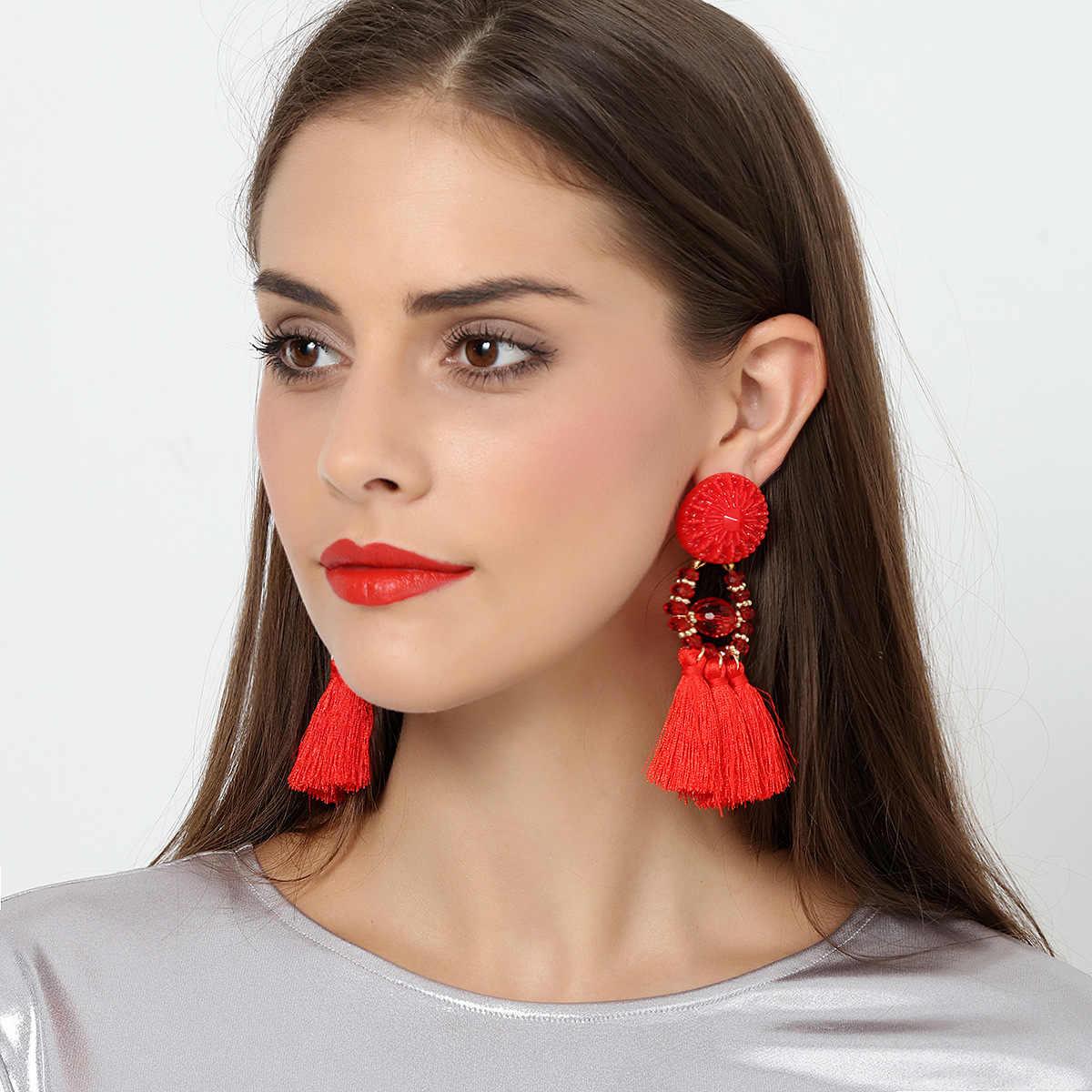 REI HOON Brincos Mulheres Marca Declaração étnico Borla Franja Boho Gota Dangle Brinco Do Vintage brincos moda jóias Encantos