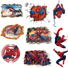 45*50CM 3D Popular Spiderman película de dibujos animados hogar pegatina de pared/Adhesivo de pared para la decoración de la habitación de los niños regalos papel tapiz