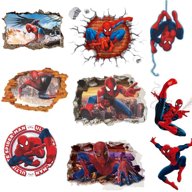 45*50CM 3D populaire Spiderman dessin animé film maison autocollant mural/adesivo de parede pour enfants chambre décor enfant cadeaux papier peint
