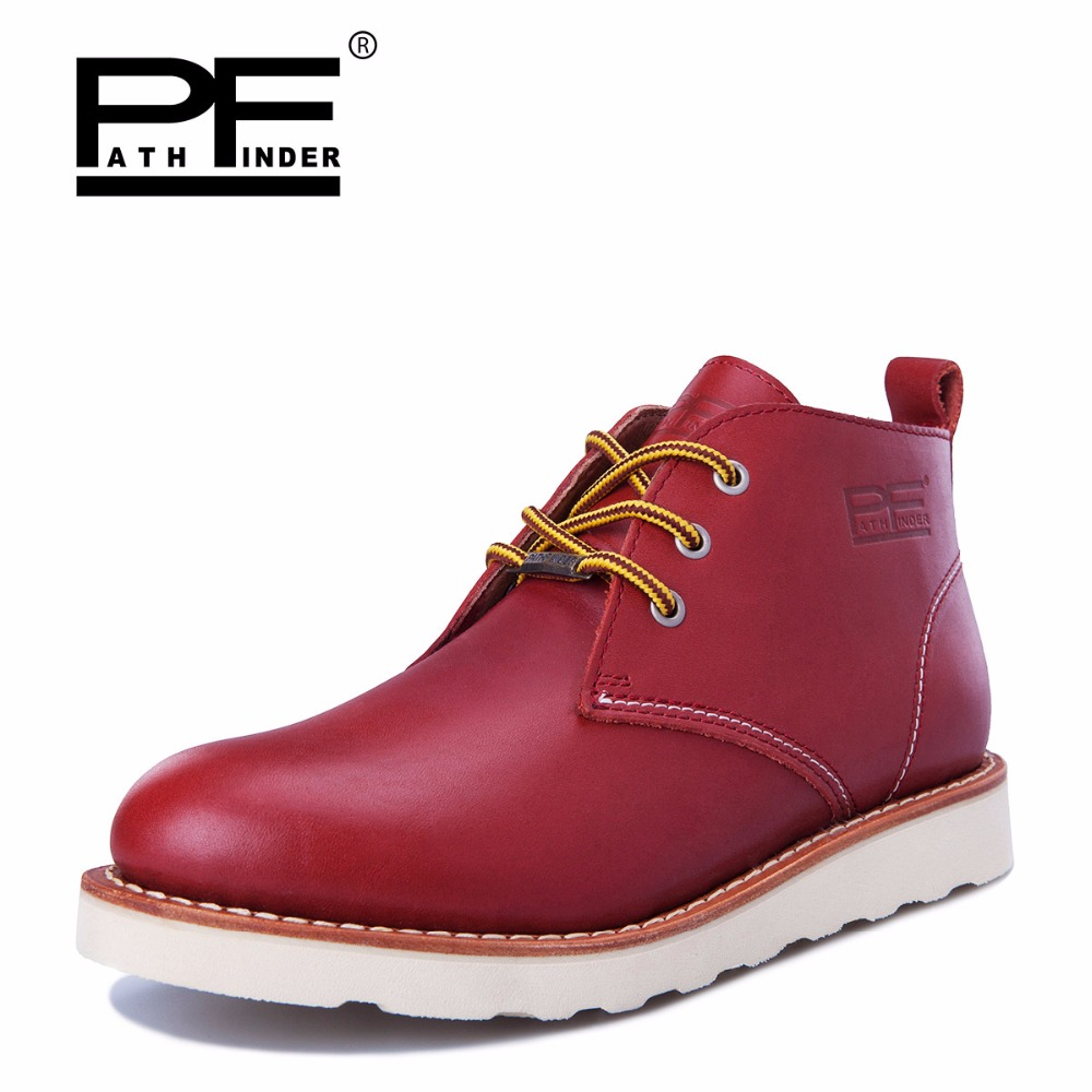 Pathfinder Genuine Leather Men Ankle Boots Warm Martin Boots High Quality Men's Casual Shoes