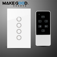 US AU 4 Gang 1 Way Smart Home Light Switch Crystal Glass Panel Touch Wall Switch