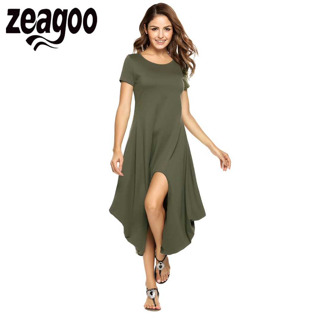 Zeagoo Women Short Sleeve Asymmetrical Dip Hem Cocoon Dress 2017 Casual Summer Dresses Women Long Maxi Dess vestidos mujer