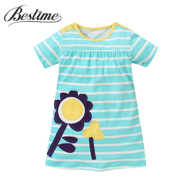 100% Vestido Da Menina do Algodão Listrado Azul Casual Crianças Crianças Vestidos para Meninas Flor Apliques de Moda Meninas Roupas