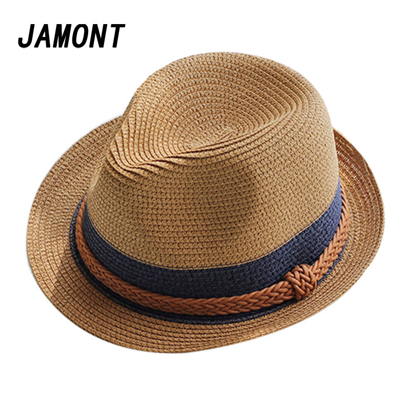 570df76f58a Summer Jazz Women Straw Hat Beach Men Sun Hat Casual Panama Male Cap Hemp  Rope Patchwork Striped Straw Hat Visor Cap-in Sun Hats from Women s Clothing  ...
