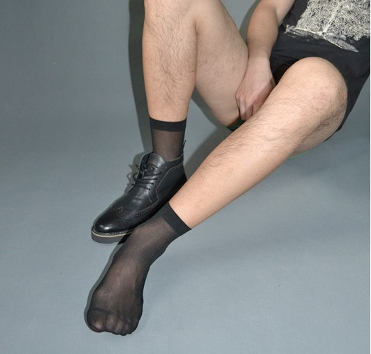 SORRYNAM High quality Men Sheer Silk Black socks Transparent Sexy Men suit Formal socks