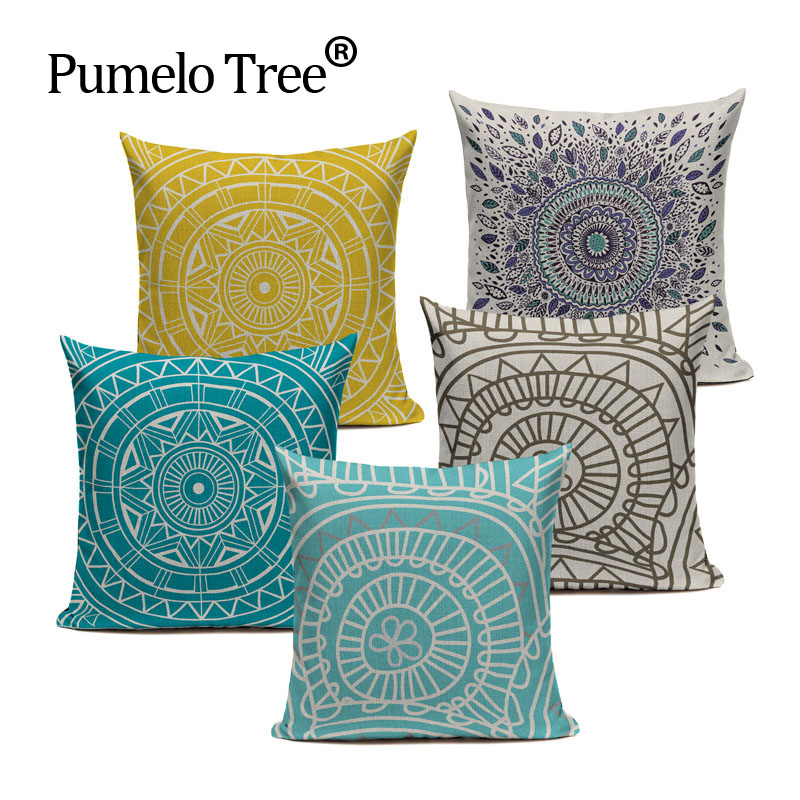 round blue geometric cushion cover cushions linen creative pillow case for living room bed room ethnic