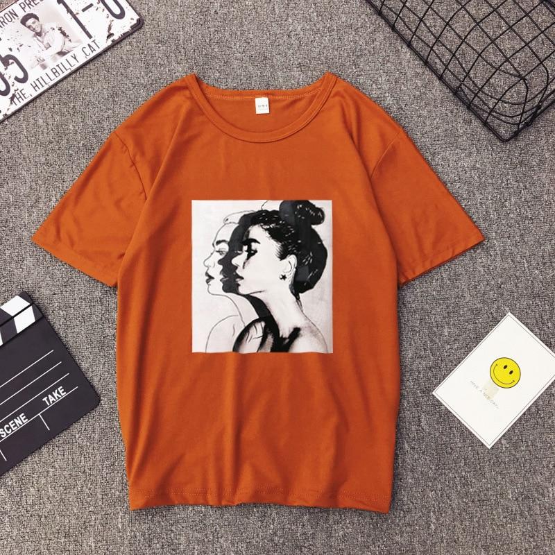 Girls Print Short Sleeve O Neck Cotton Spandex Top Slim Fit Soft T-shirt 29