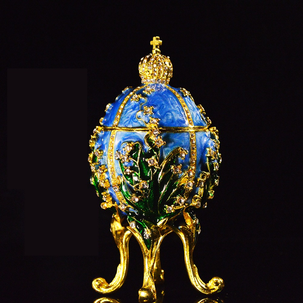 QIFU Handicarft Diamond Decoration Beautiful Blue Egg Jewelry Box