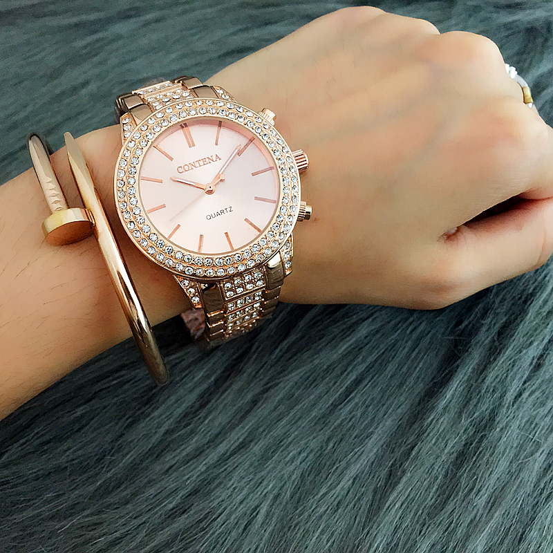 Golden Silver Rose Gold Famous Brand 2017 New Designer Contena Ladies Watches Rhinestone Full Diamonds Women Dress Watches mance ladies brand designer watches