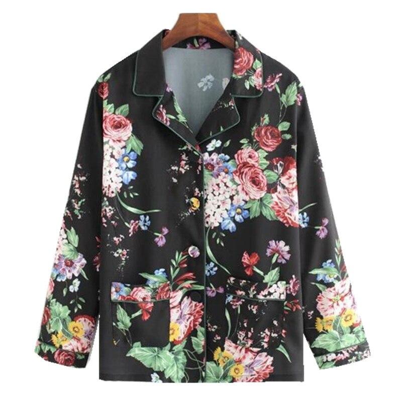 Vintage Notched Collar Flower Flower Print Kimono Shirt Black 2018 Woman Long Sleeve Pajamas Style Loose Blouse Femme Blusas