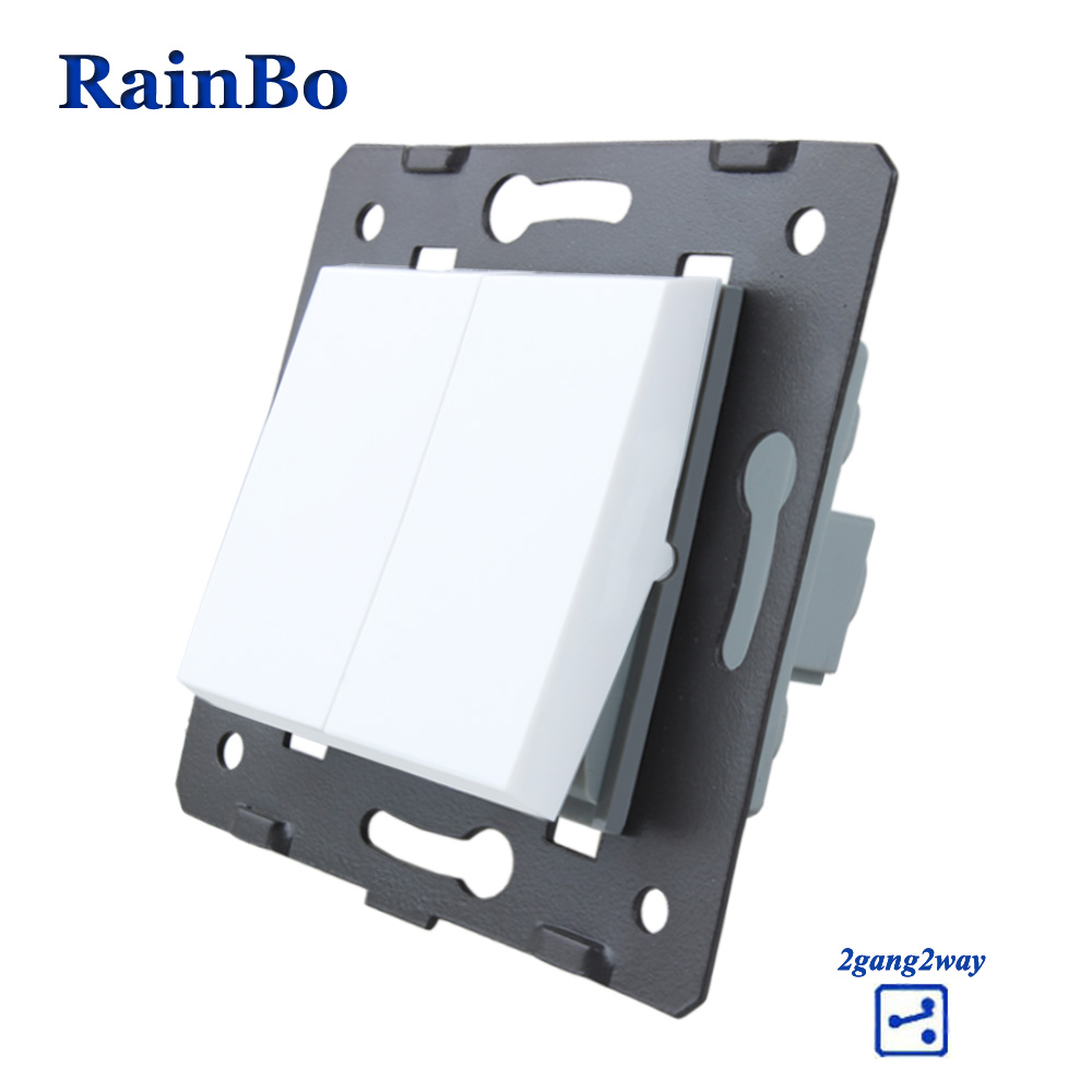 RainBo  2gang2way Button switch  Parts White Plastic Materials DIY Accessory Function Key Wall switch EU Standard A722W/BRainBo  2gang2way Button switch  Parts White Plastic Materials DIY Accessory Function Key Wall switch EU Standard A722W/B