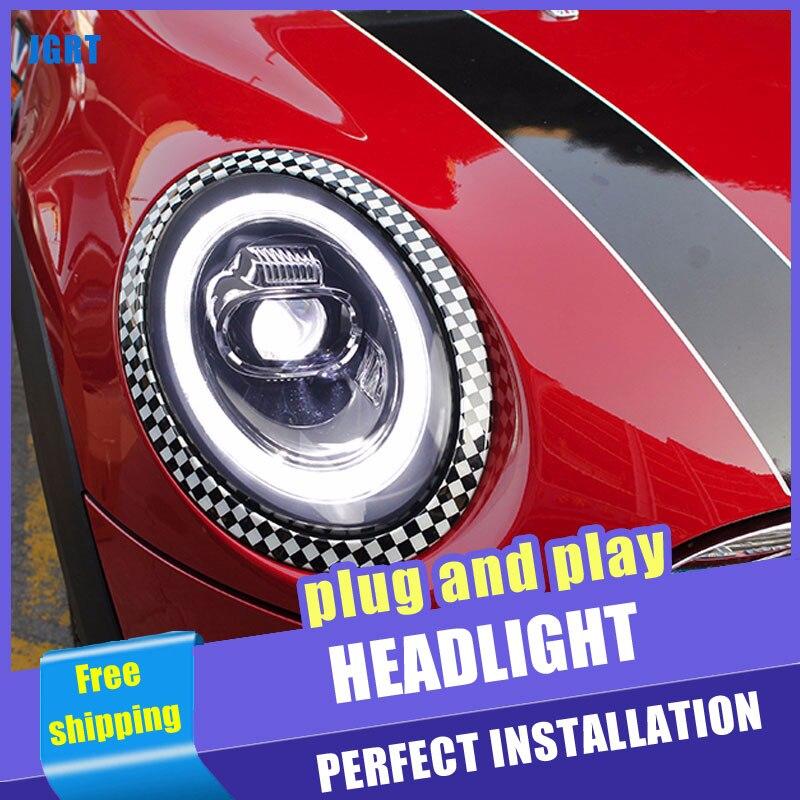 2PCS Car Style LED headlights for BMW MINI 2014 2019 for MIMI head lamp LED DRL Lens Double Beam H7 HID Xenon bi xenon lens