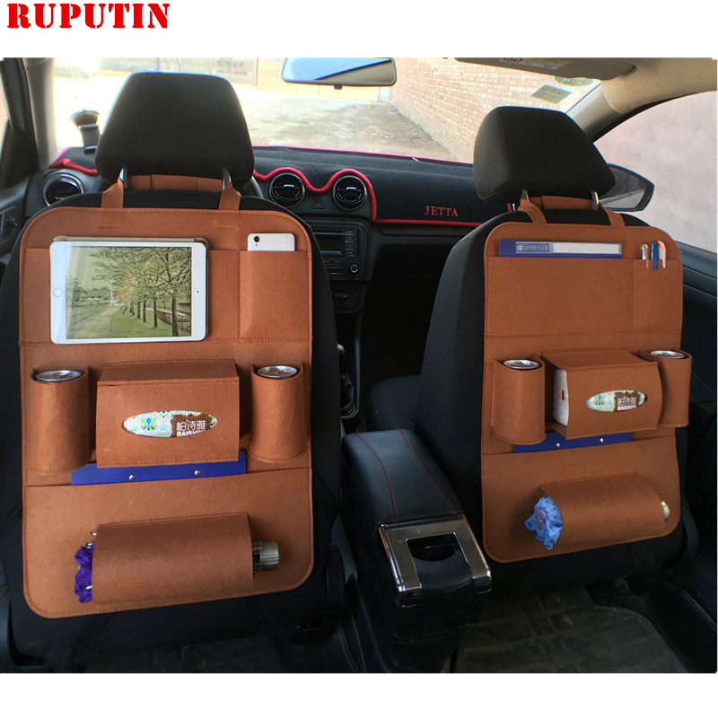 RUPUTIN New Universal 1PC Car Auto Seat Back Protector Cover Felt Covers Back Seat Pockets Multifunctional Storage Cosmetic Bags
