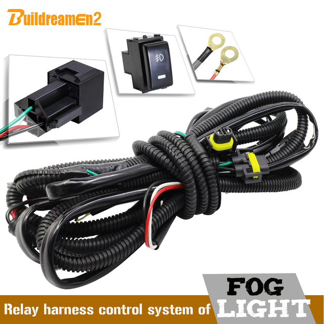 Buildreamen2 H11 Fog Light Harness Wiring Kit Cable + Switch with LED Indicator AT Relay Fuse Car Styling For Nissan Infiniti