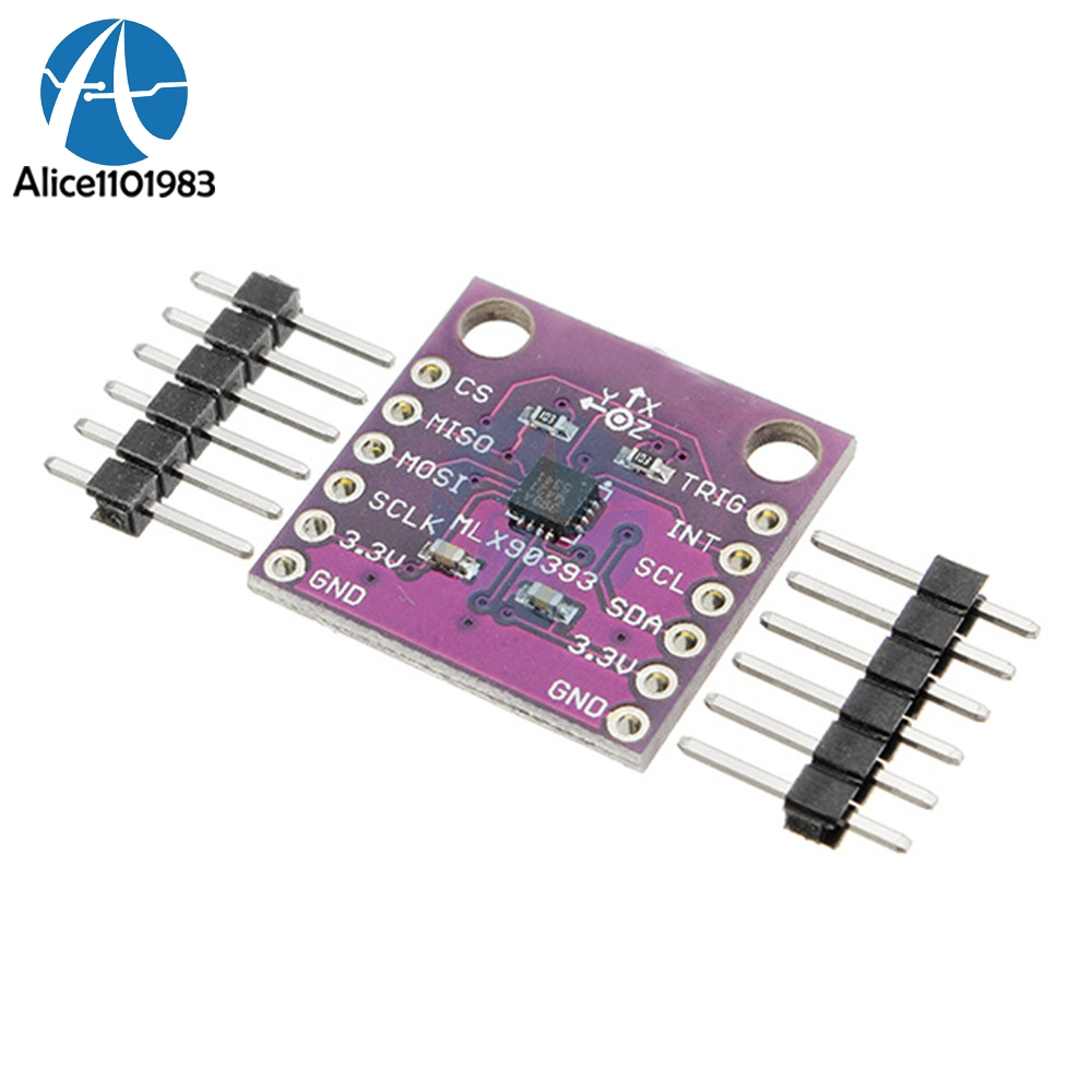 MLX90393 Digital 3D Hall Sensor Board 16 bit AD Three-Displacement Angle Rotate 3D Position Sensor Module 2.2V-3VMLX90393 Digital 3D Hall Sensor Board 16 bit AD Three-Displacement Angle Rotate 3D Position Sensor Module 2.2V-3V
