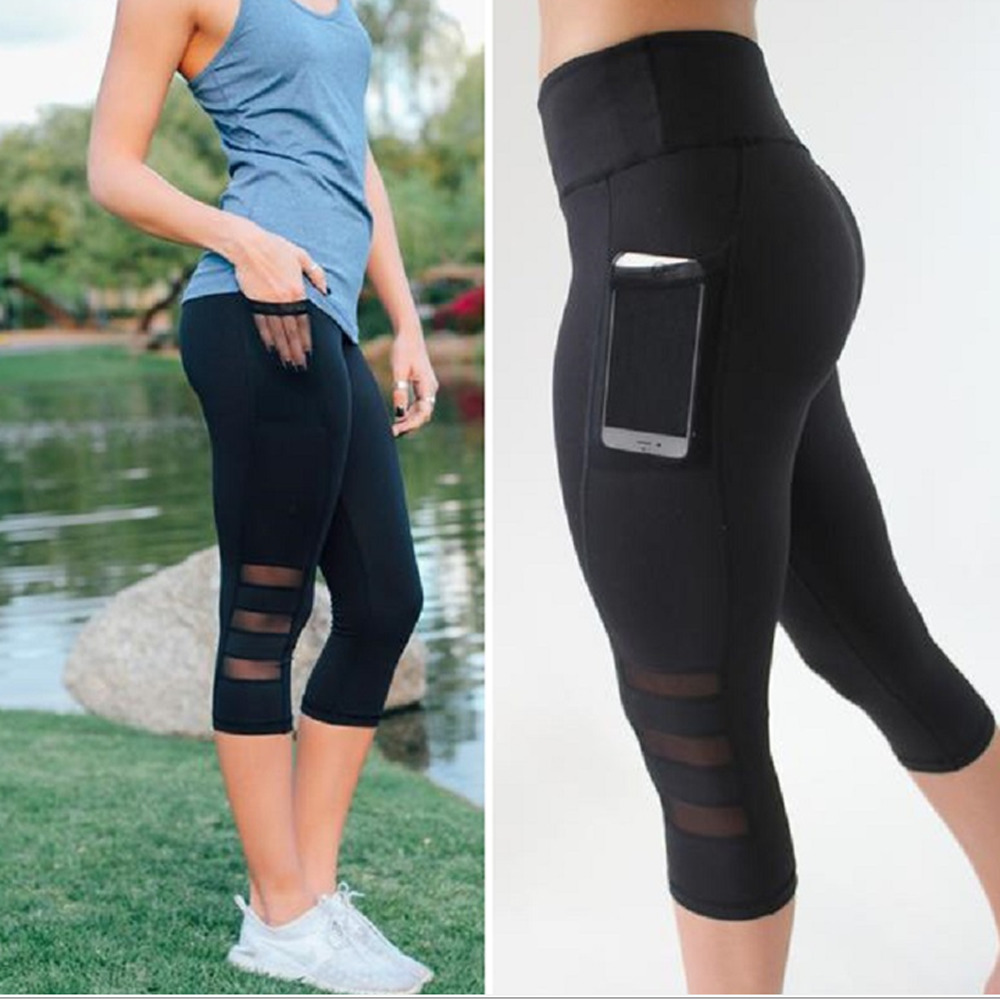 2018 Black sexy Fitness sporting Capri Pants Women's High waist Elastic Mesh Legging pants with pocket Cropped trousers leggings