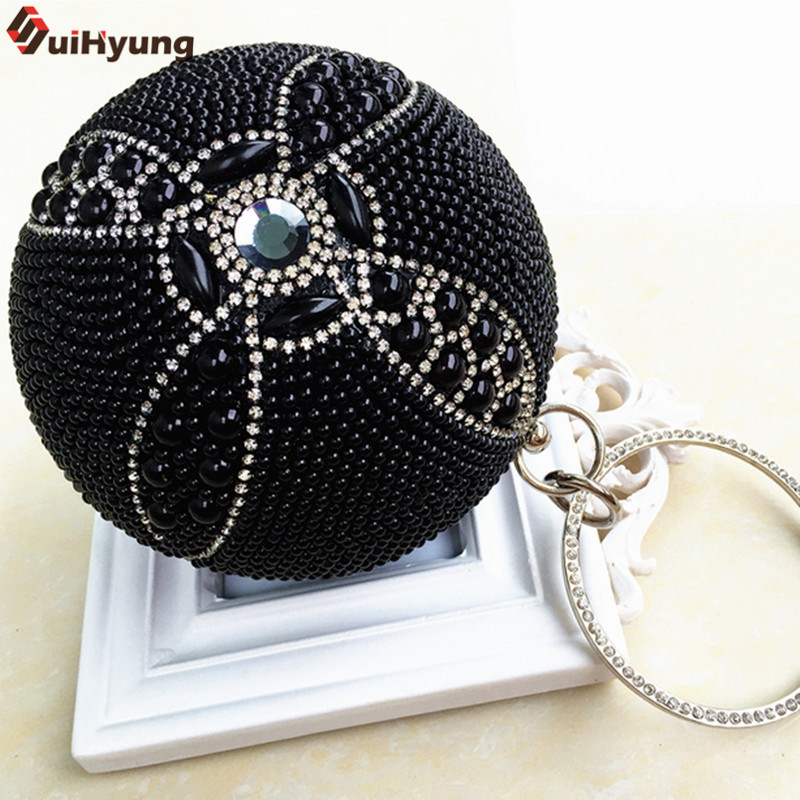 New Women Hand-beaded Handbags Luxury Pearl Diamond Evening Bag Wedding Party Bridal Round Ball Tote Banquet Shoulder Bag new women s retro hand beaded evening bag wedding bridal handbag chain shoulder bag stitching sequins diamond stone day clutches