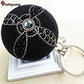 New Women Hand-beaded Handbags Luxury Pearl Diamond Evening Bag Wedding Party Bridal Round Ball Tote Banquet Shoulder Bag