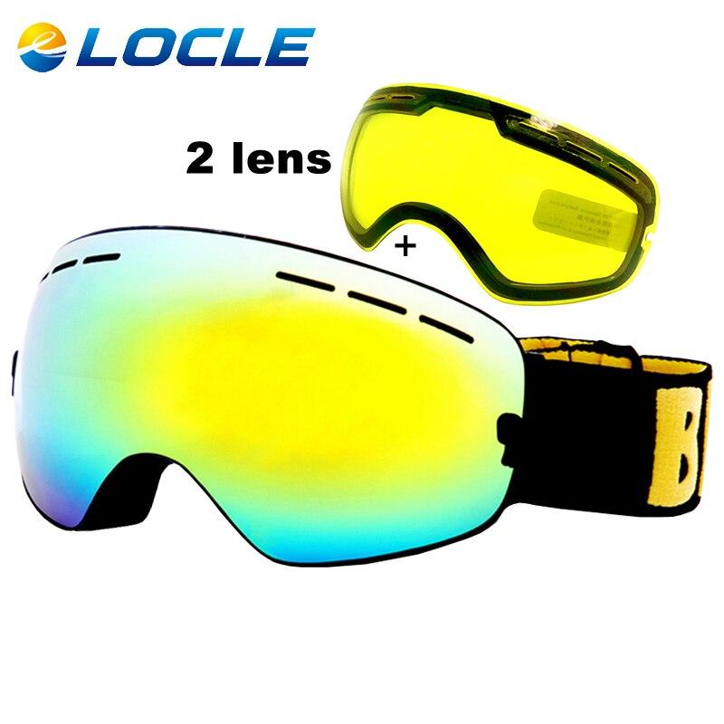 LOCLE Anti fog Ski Goggles UV400 Ski Glasses Double Lens font b Skiing b font Snowboard