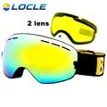 LOCLE Anti-vaho Gafas de Esquí UV400 Gafas De Esquí Doble Lente Gafas de Esquí Snowboard Gafas De Esquí Con Un Brillo lente