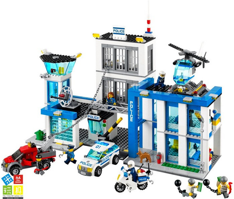 Bela 890pcs 10424 City Police Station building blocks Action Figures set helicopter jail cell Compatible with Legoe For Kid Gift