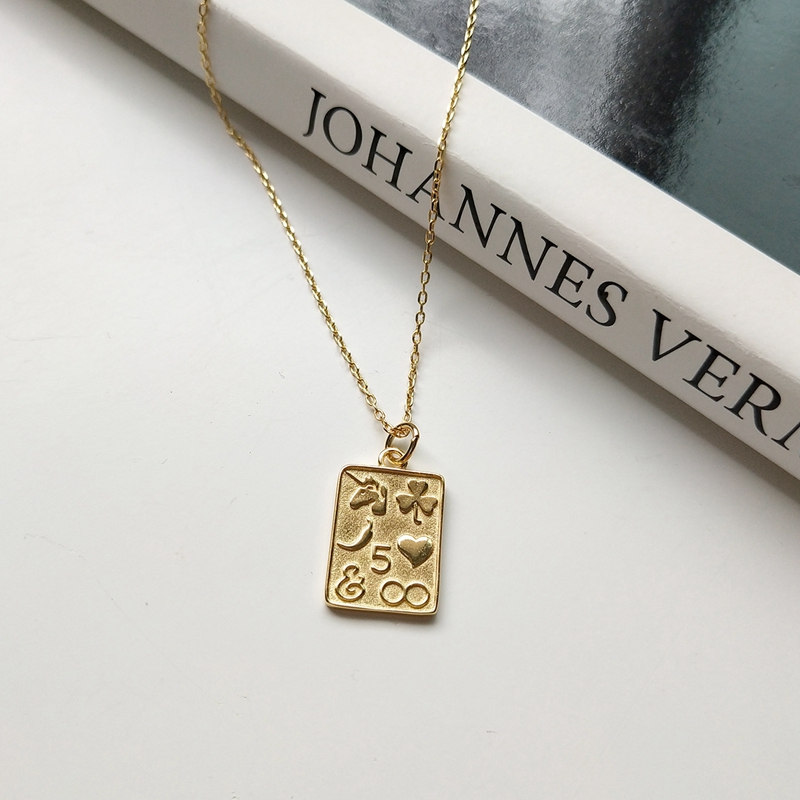 LouLeur 925 Sterling Silver  Pattern Rectangle Pendant Necklace Simple Image Gold Necklace For Women Silver Jewelry For Charms