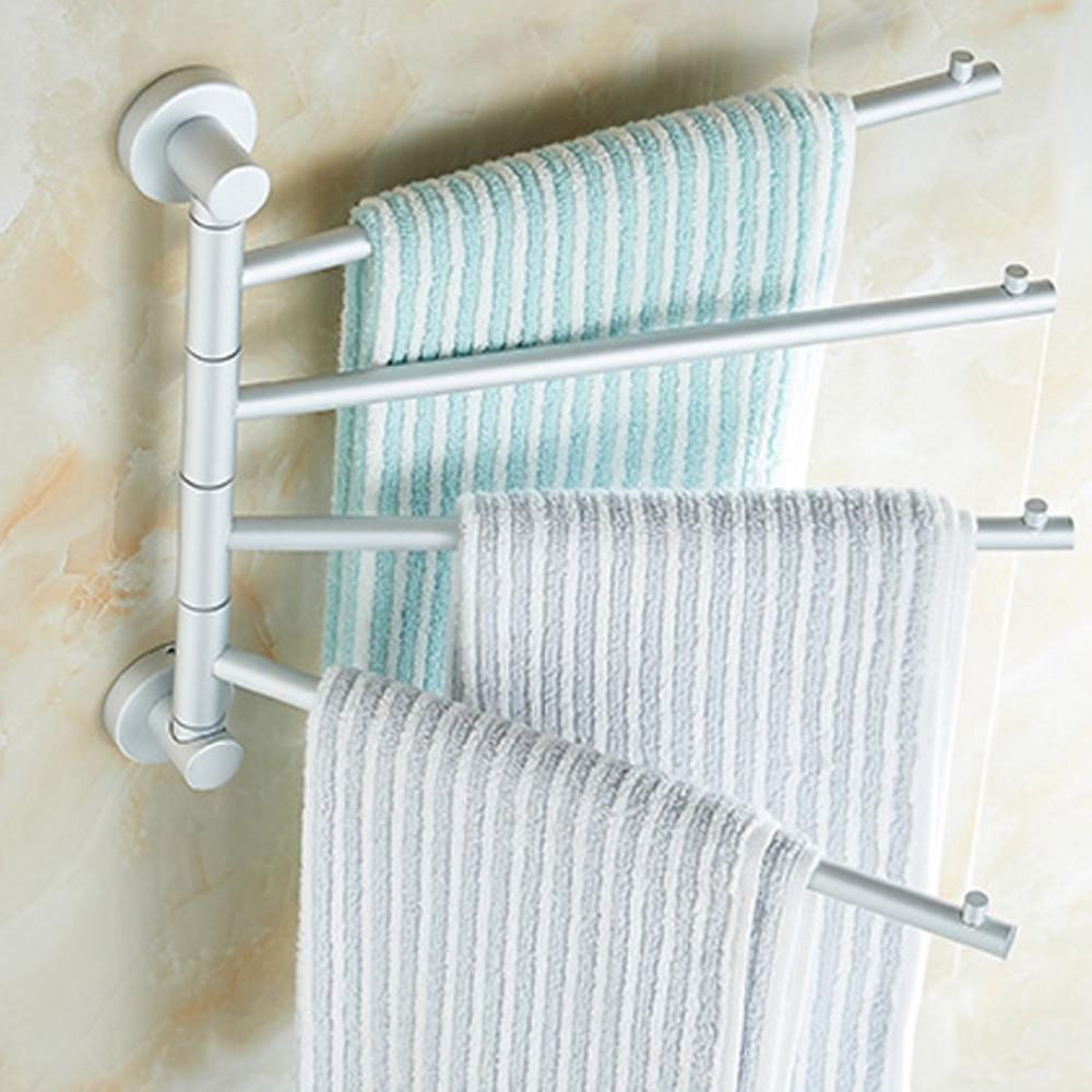 Behogar Wall Mounted Space Aluminum Rotating Movable Towel Holder ...