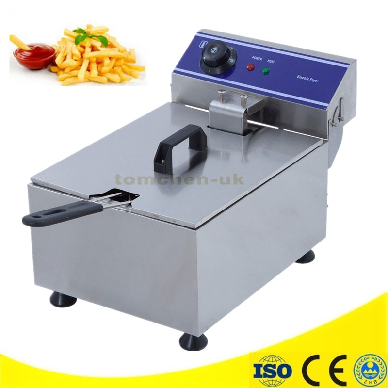 220V 3000 KW 10L Commercial Electric Deep Fryer Single Cylinder Machine With Timer French Fries Fried Chicken Large Capacity commercial double screen cylinder electric deep fryer french fries machine oven pot frying machine fried chicken row eu us plug