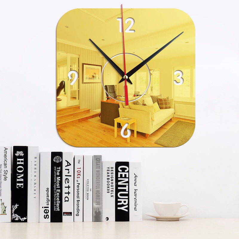Modern Minimalist Square Mute Creative Stereo Mirror Wall Clock Wall Decoration Acrylic Decorative Wall Sticker Wall Clock