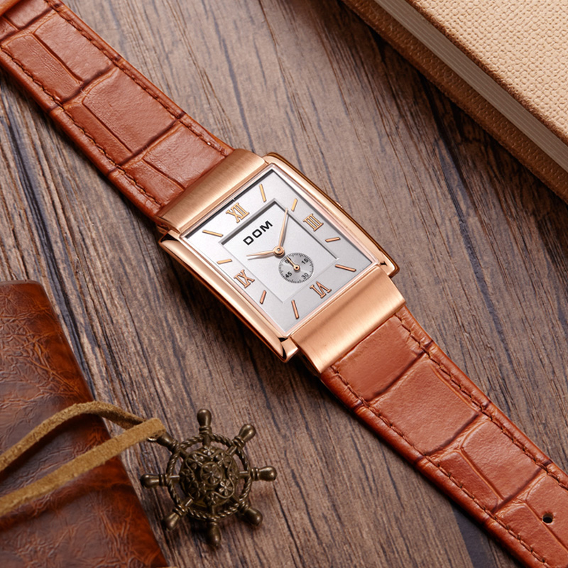 Men Top Luxury Brand Waterproof Leather Square Quartz Watch For Man Gold Ultra-thin Dial Male Clock Fashion Relogio Masculino