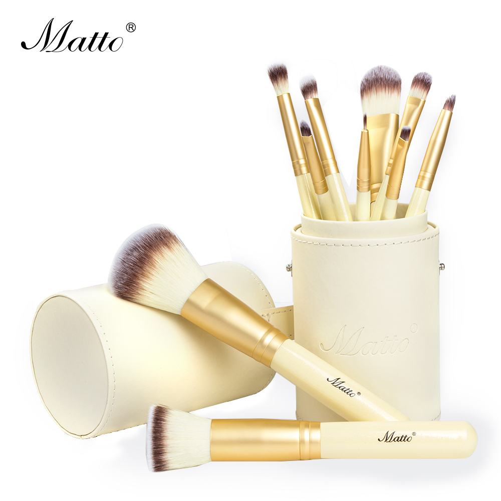 Matto Gold Makeup Brushes Professional 10pcs Makeup Brush Set Foundation Powder Blush Make Up Tools Kit With Brush Holder fashion 10pcs professional makeup powder foundation blush eyeshadow brushes sponge puff 15 color cosmetic concealer palette