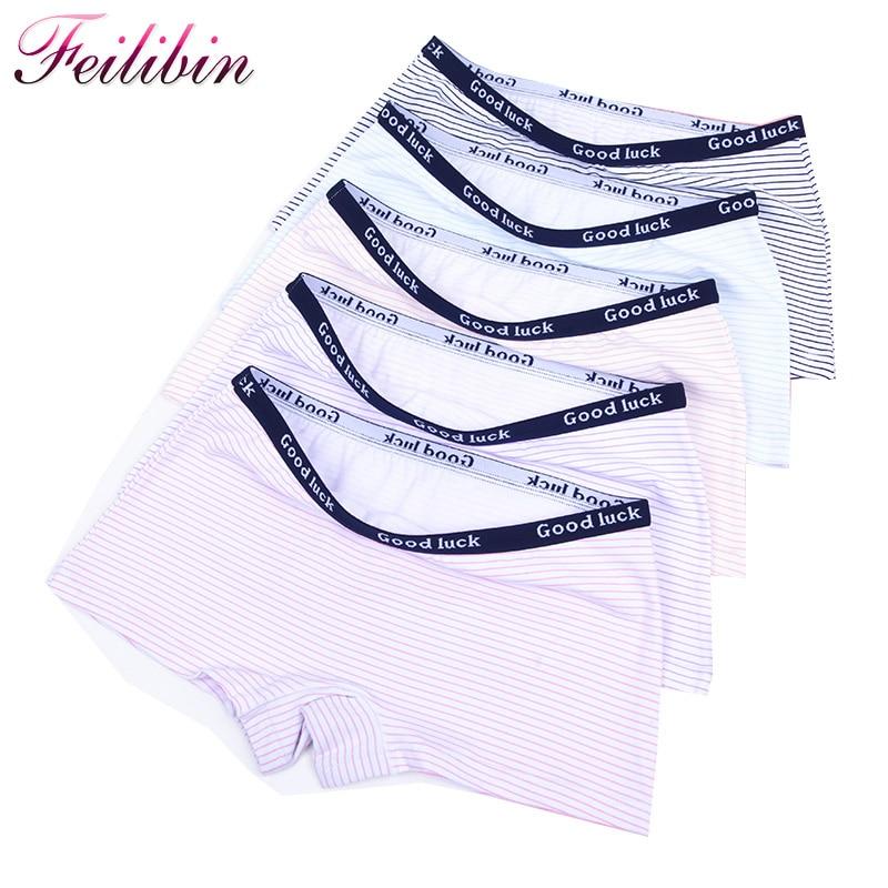 Feilibin 5Pcs/lot Cotton Panties Women's Boyshort New Female Breathable Pants Ladies Underwear Girls Underpant Fat Boxer Shorts