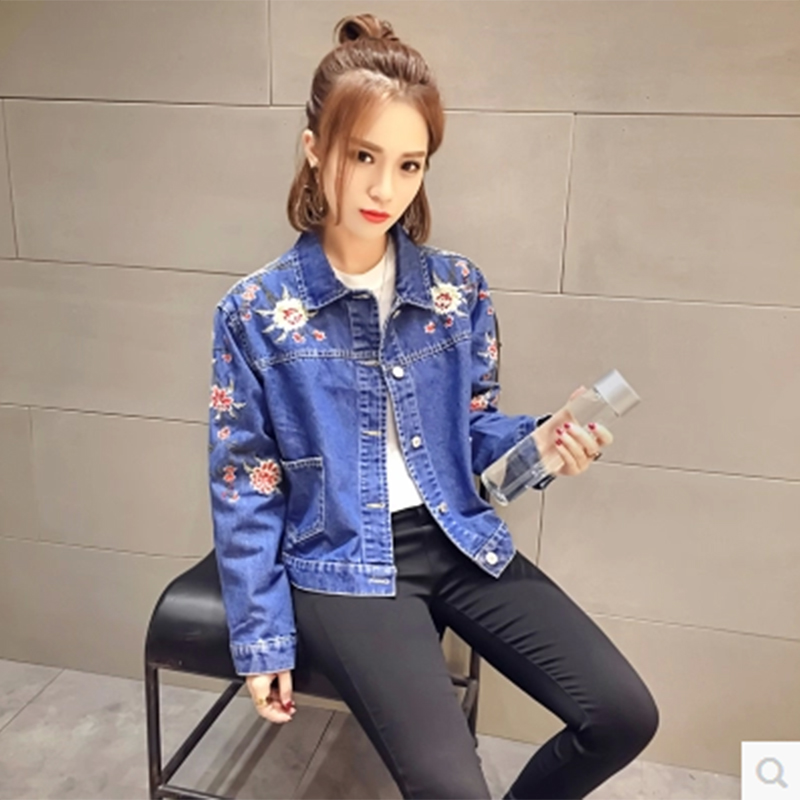 Fashion Women's new retro embroidery flowers profile single-breasted pocket lapel denim jacket