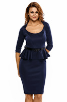 autumn winter slim office work clothes with sashes Long Sleeves Belted Peplum Midi Dress 6163 Dark Blue red plus size S M L XL