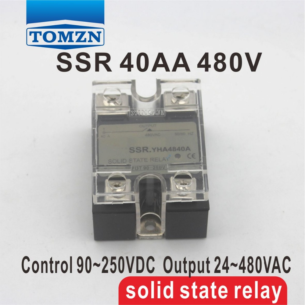 40AA SSR input 90-250V AC load 24-480V AC High voltage single phase AC solid state relay high quality ac ac 80 250v 24 380v 60a 4 screw terminal 1 phase solid state relay w heatsink