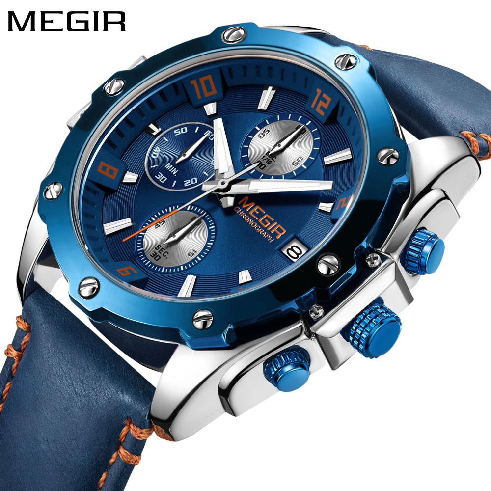 MEGIR New Men Watch Quartz Mens Watches Top Brand Luxury Gold Watch Leather Strap Chronograph Sport Wristwatch relojes hombre 12v electric car wash machine electric clean and polish brush electric car cleaner with telescopic rod