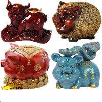 Cartoon Golden Pig Piggy Bank Coin Bank Money Box Saving Money Crafts Ornaments container Home Decor Favor Gift Resin Business